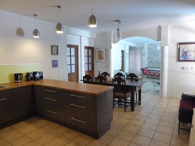 Open plan kitchen, dining and living area
