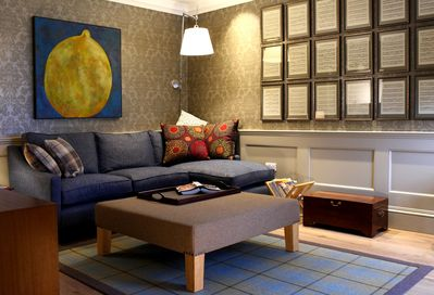 Sitting Room: muted colours make for a calm and restful place to chat or relax.