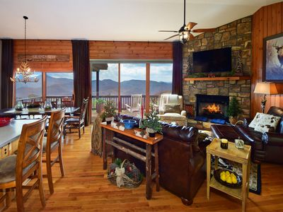 Photo for *Luxuriy Cabin/Panoramic Views: 3 Kings+3 Baths+Fireplace+Large deck, ski close