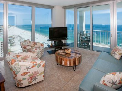 Photo for Panoramic Gulf views from 17th floor east corner unit | In/out pools, Hot tub, Sauna, Fitness, Wifi