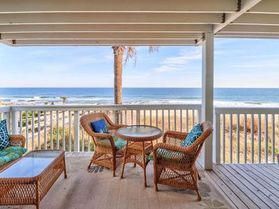 Photo for Oceanfront 1st floor end unit, covered deck, elevator, Indoor/Outdoor Pools