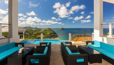 Your view from the Living terrace - Pool, Pigeon Island and Sunsets.