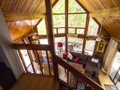 View from the loft, cedar ceiling and wall of windows facing backyard