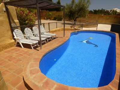Photo for PRIVATE POOL, semi heated pool, near the beach, sea views, internet, , parking