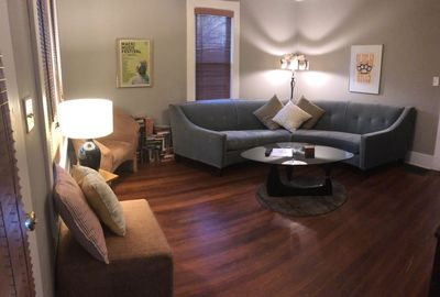 Living room with custom furniture and vintage details