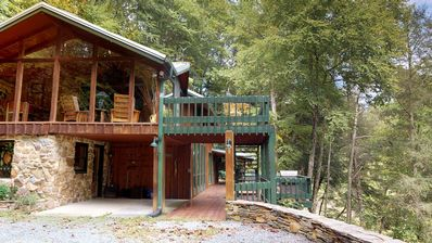 Photo for A River Mist - Secuded, on 6 acres of the Watauga River, hot tub, pet friendly.
