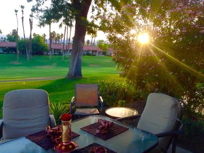 Photo for Amazing! Backs onto the 18th fairway, swaying palm trees, and beautiful sunsets.