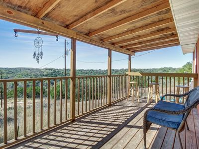 Photo for NEW LISTING! Charming rural escape w/ shaded porch & wonderful Hill Country view