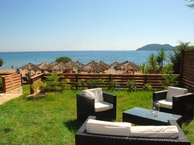 Photo for Luxury villa with jacuzzi outside on Dafni beach in the Marine Park of turtles