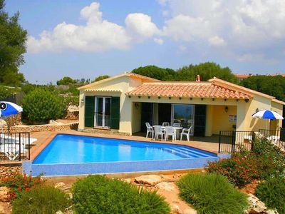 Photo for Beautiful villa with fantastic views of the beach and playground Son bou