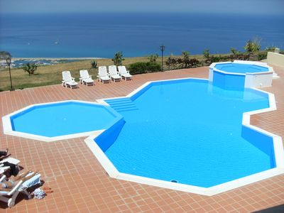 This is the pool by the apartment with the fantastic views of Tropea.
