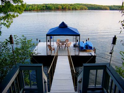 Your backyard - a large private floating dock with a pedal boat.