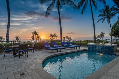 Gorgeous ocean and sunset views from private pool deck.