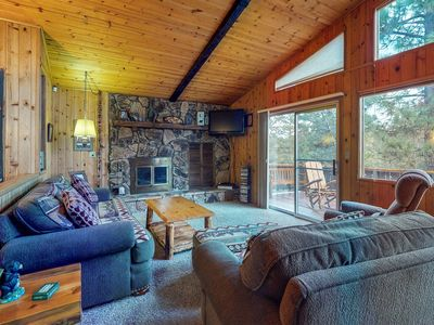 Photo for NEW LISTING! Cozy mountain cabin w/wood fireplace & full kitchen -near skiing
