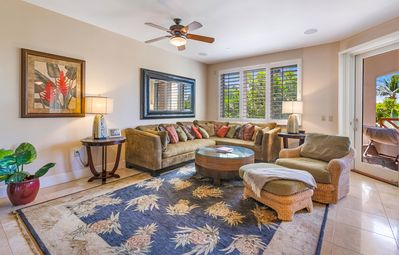 Spacious Living Room with Tommy Bahama rug