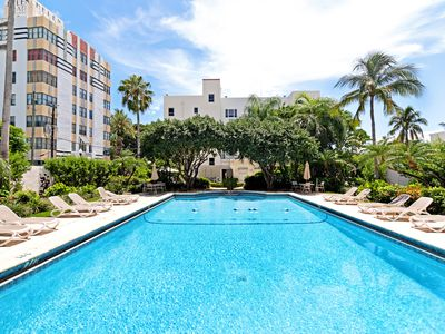 Photo for Cozy studio in an Art Deco building w/ pool & gym - 1 block to the beach!