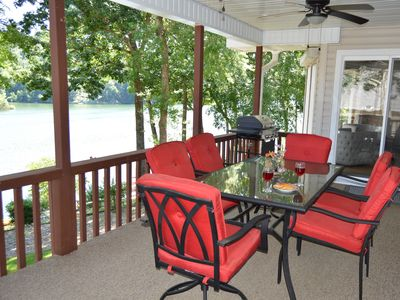 Photo for Gorgeous bluffs on Lake Ann - private dock