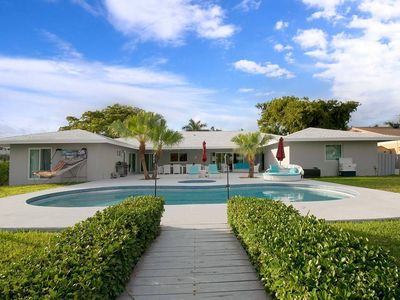 Photo for Glamorous waterfront 5 BR w/pool, 5min to beach