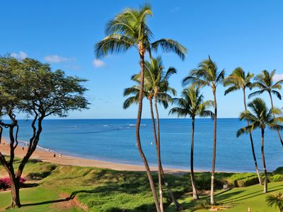Luscious green park, beautiful ocean and beach views from private lanai.