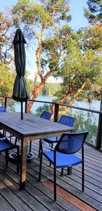 Great deck and table bay-side for group meals