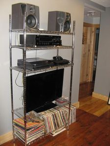 LCD, DVD, PS3, BluRay, FM/AM, turntable all in Stereo, or Mono power.
