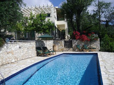 Photo for Beautiful Villa, short walk to Agni Beach, heated pool with stunning views