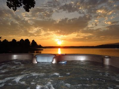 Sunrise from our large, relaxing hot tub.