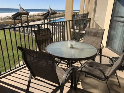 Spectacular views of the gulf and the pool from this beautiful balcony!