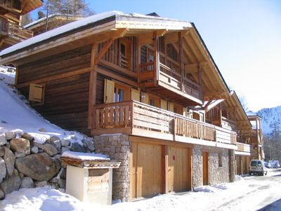 Photo for Independent wooden chalet -See slopes-2 Garages in st. vs. -Internet wifi-Isola 2000