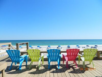Walk right out the back door and enjoy the beach from the deck or free set ups