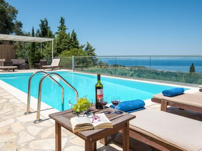 Photo for Villa Milou with fantastic views over the open Ionian sea