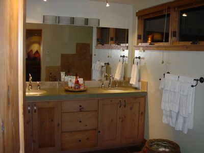 Master bathroom vanity,with Steam Shower &  Jacuzzi Tub