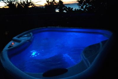 Spa Pool on your private deck at Sunset