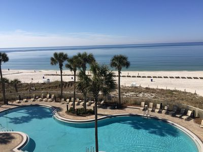 View from your balcony!!! Large pool with seating. This could be your view!