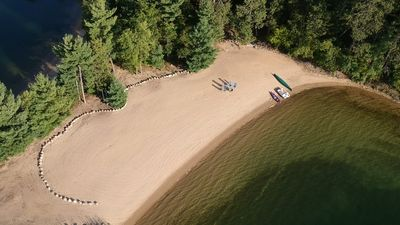 Photo for INCREDIBLE Private Sand Beach, Cozy Cabin, Crystal Clear Water, Perfect for Kids