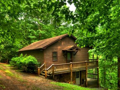 Photo for Amazing cabin w/ woodland views, private hot tub, air hockey, and fireplace!