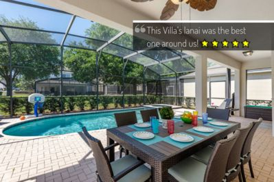 The lanai has a table that seats 8, privacy bushes, 4 lounge chairs & BBQ