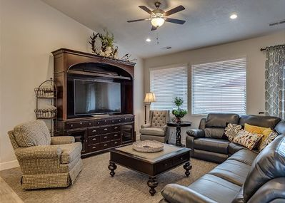 Living room with tv and seating for 8