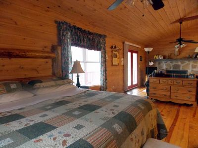romantic cabin rental - king sized bed