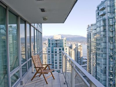 Balcony with a view to the North Shore mountains.