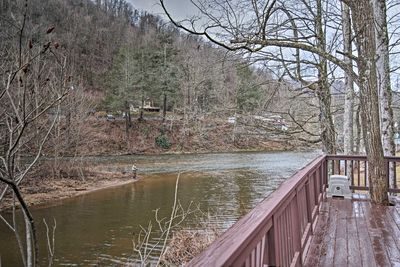 Enjoy scenic views of the river from the deck.