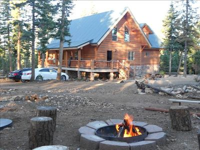 View of home from the fire pit and horshshoe recreation area.