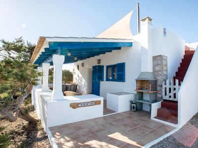 Photo for House 4-6 pax. Terrace overlooking the sea, barbecue. It's Caló. Migjorn Beach 800m.