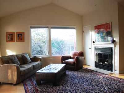 A cozy fireplace and Greenbelt views in the First Living Room.