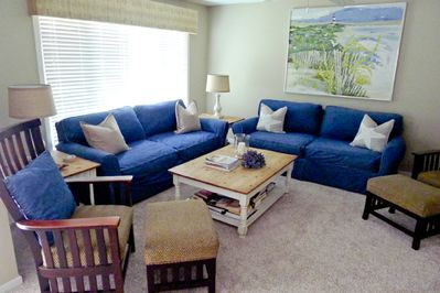 Living area with comfy couches. Put your feet up!