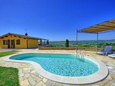 Photo for Private Villa with WIFI, A/C, private pool, TV, terrace, pets allowed, panoramic view, parking