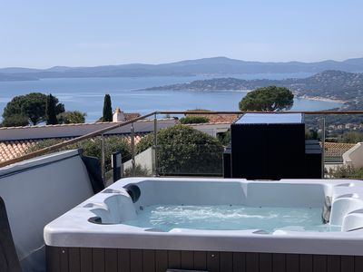 Photo for Single storey villa with sea view Saint Tropez heated swimming pool April to November / SPA 37 °