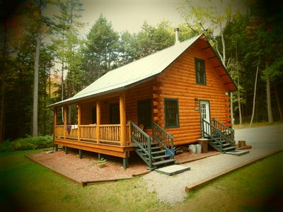 Photo for Adirondack Riverfront Log Cabin