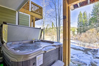 Slide into the private hot tub and rest your muscles.