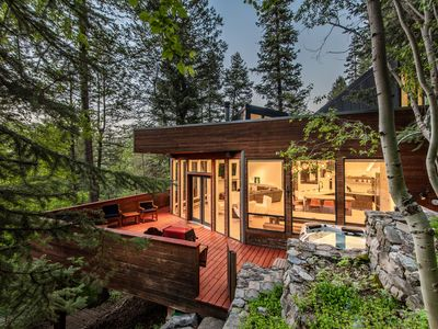 Photo for Modern Treehouse - Unique Contemporary Home Nestled in the Forest, Hot Tub, Fireplace, Game Room